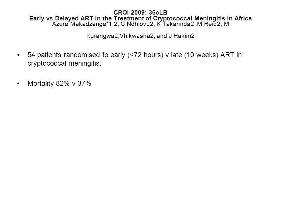 CROI 2009: 36cLB Early vs Delayed ART in the Treatment of Cryptococcal Meningitis in Africa Azure Makadzange*1,2, C Ndhlovu2, K Takarinda2, M Reid2, M Kurangwa2,Vhikwasha2, and J Hakim2