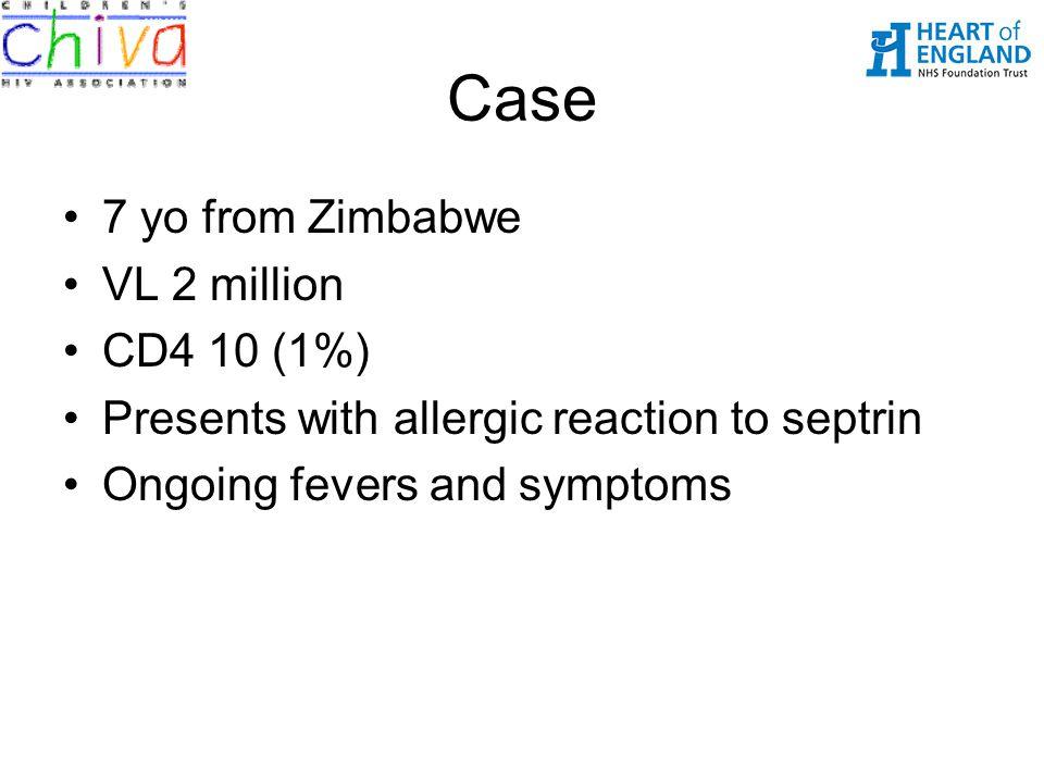 Case 7 yo from Zimbabwe VL 2 million CD4 10 (1%)
