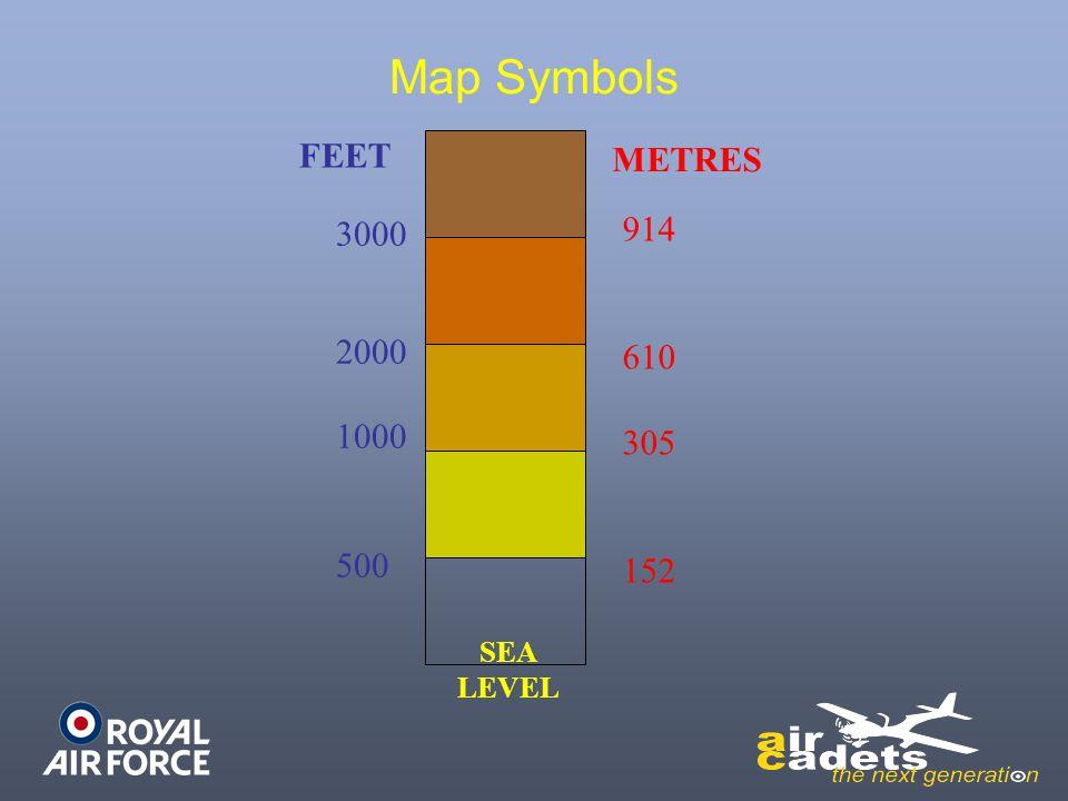 Map Symbols SEA LEVEL 3000 2000 1000 500 914 610 305 152 FEET METRES