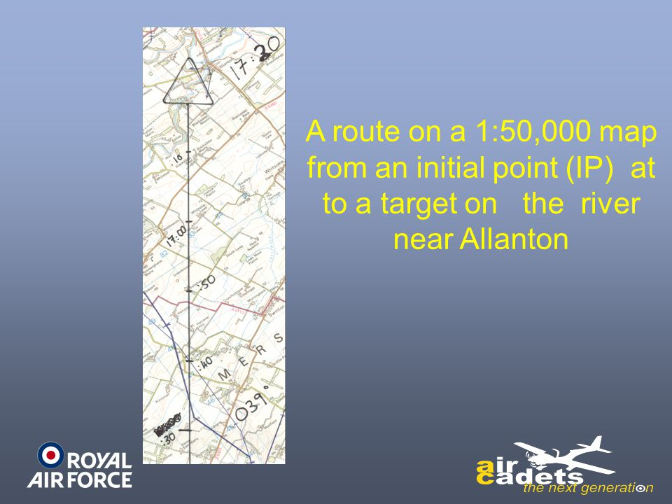 A route on a 1:50,000 map from an initial point (IP) at to a target on the river near Allanton