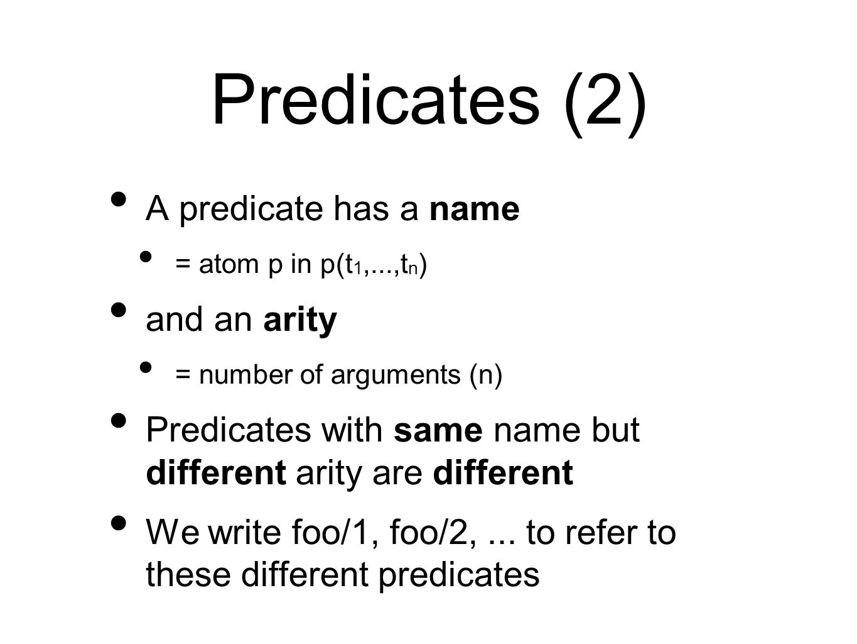 Predicates (2) A predicate has a name and an arity