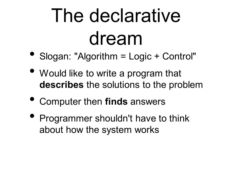 The declarative dream Slogan: Algorithm = Logic + Control