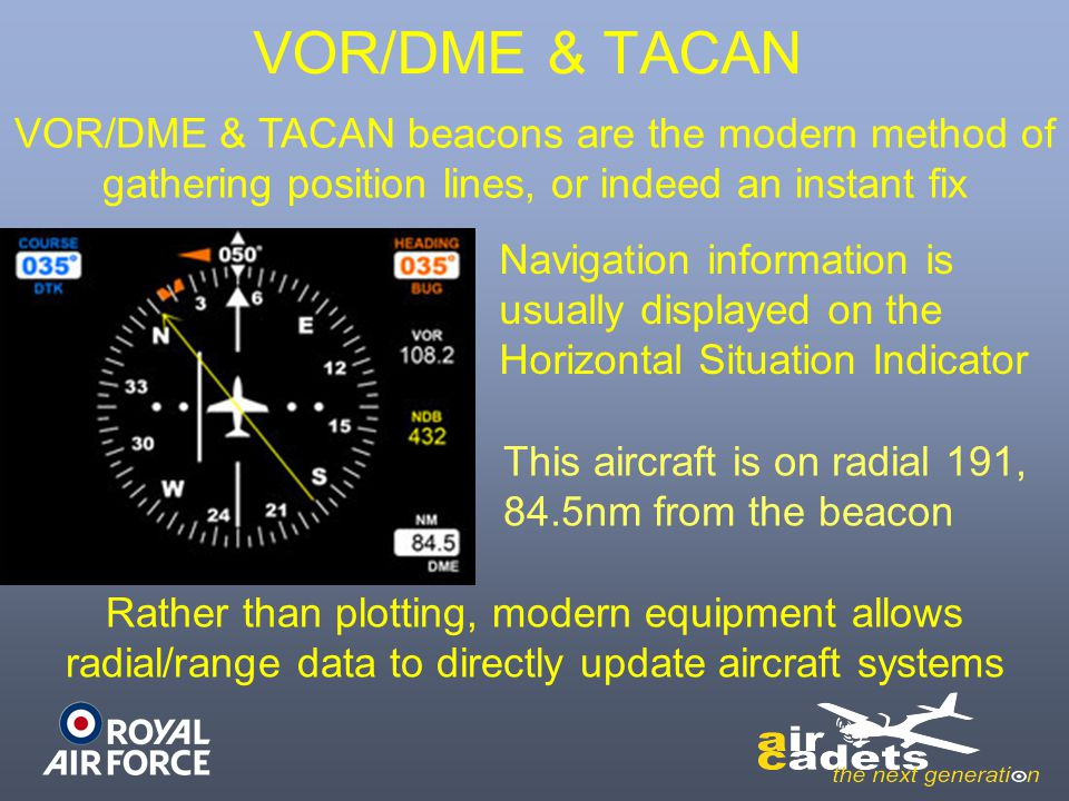 VOR/DME & TACAN VOR/DME & TACAN beacons are the modern method of gathering position lines, or indeed an instant fix.