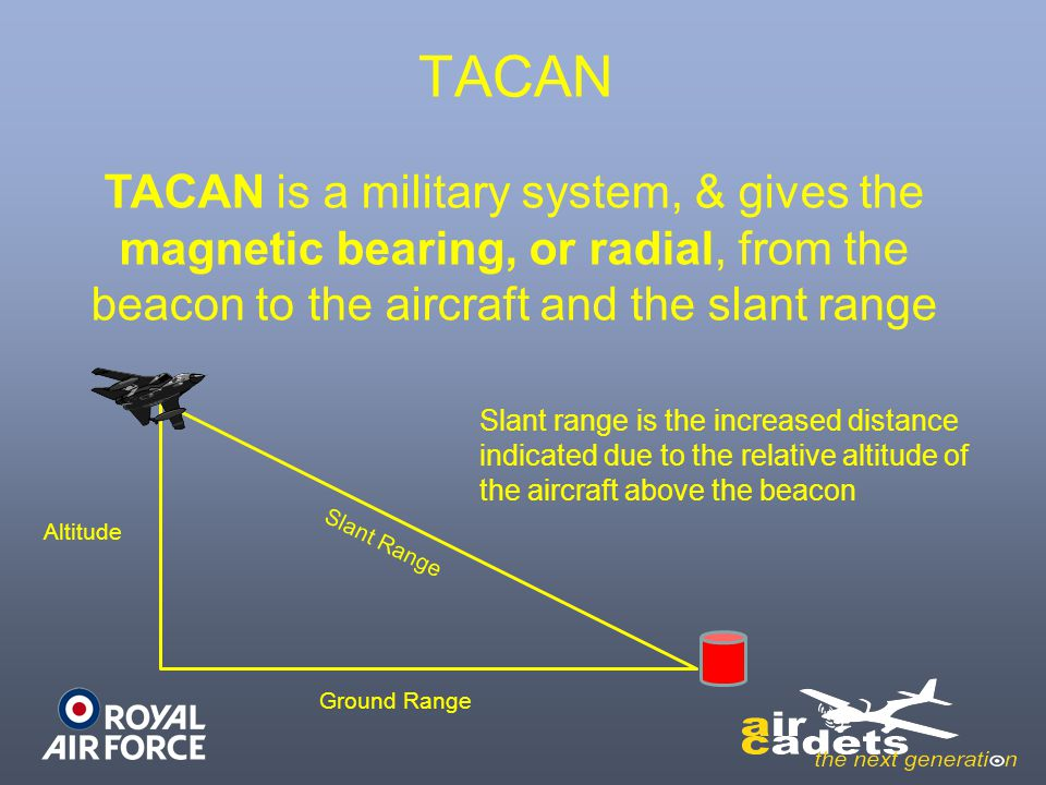 TACAN TACAN is a military system, & gives the magnetic bearing, or radial, from the beacon to the aircraft and the slant range.