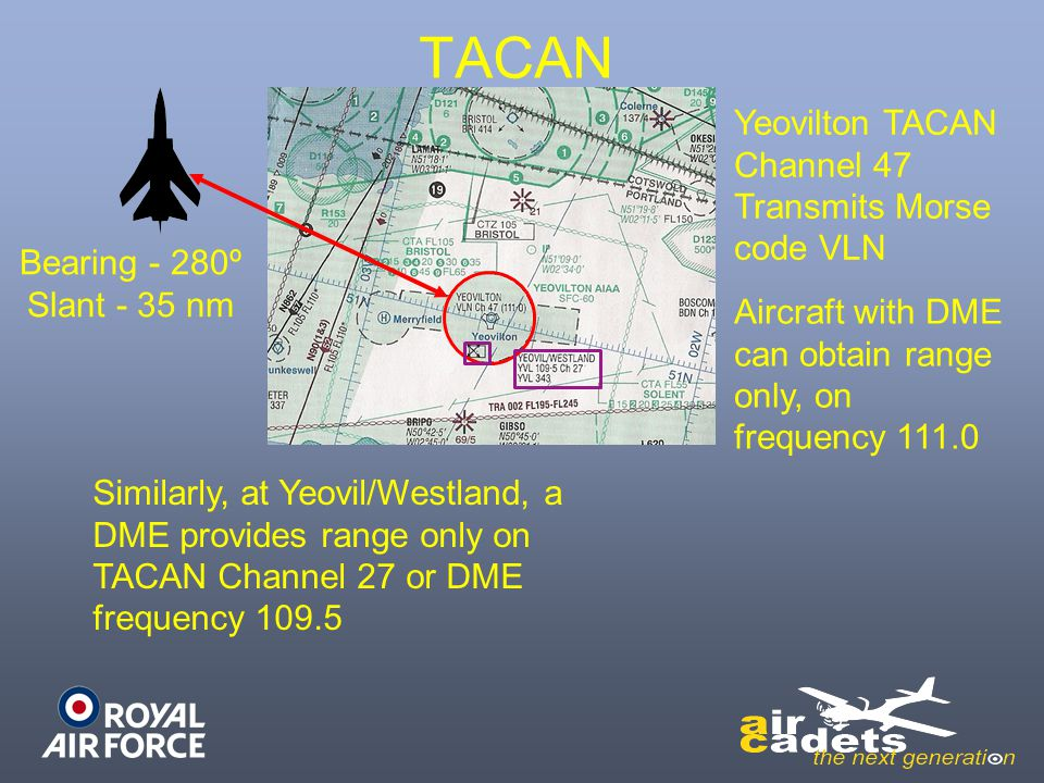 TACAN Yeovilton TACAN Channel 47 Transmits Morse code VLN