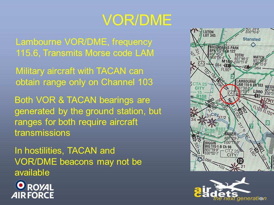 VOR/DME Lambourne VOR/DME, frequency 115.6, Transmits Morse code LAM