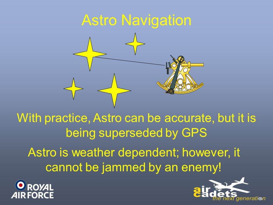 Astro is weather dependent; however, it cannot be jammed by an enemy!