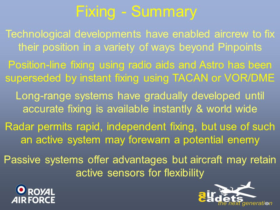 Fixing - Summary Technological developments have enabled aircrew to fix their position in a variety of ways beyond Pinpoints.
