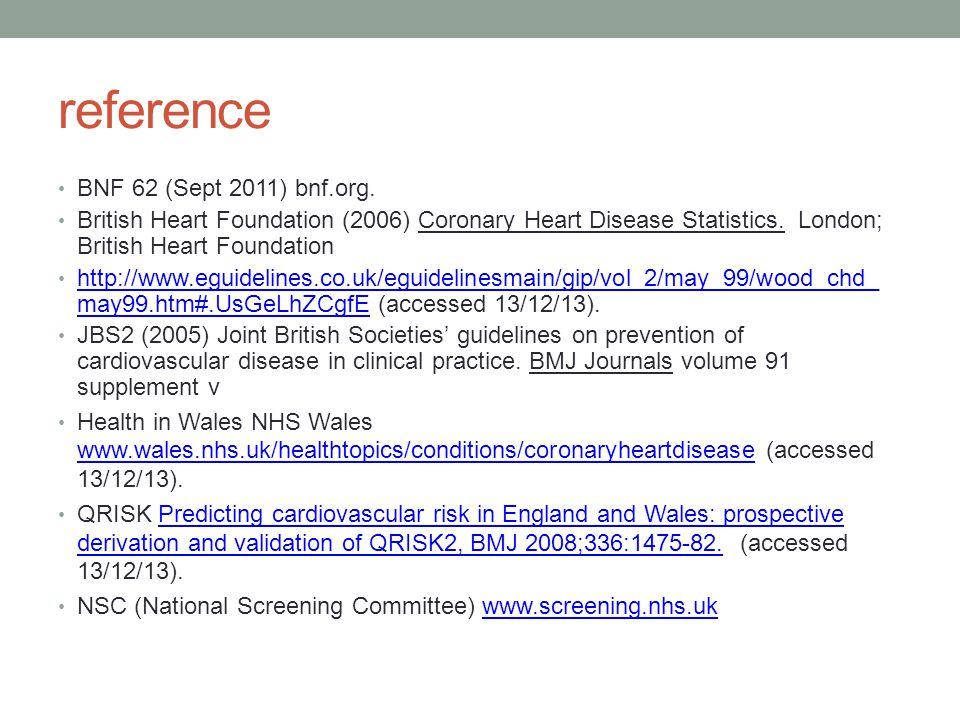 reference BNF 62 (Sept 2011) bnf.org.