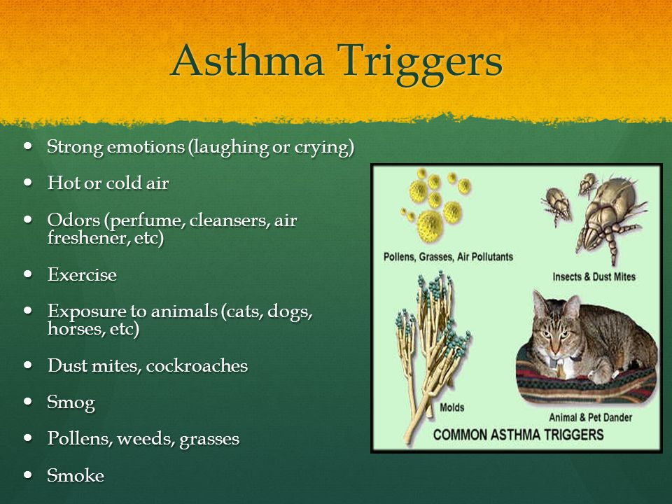 Asthma Triggers Strong emotions (laughing or crying) Hot or cold air