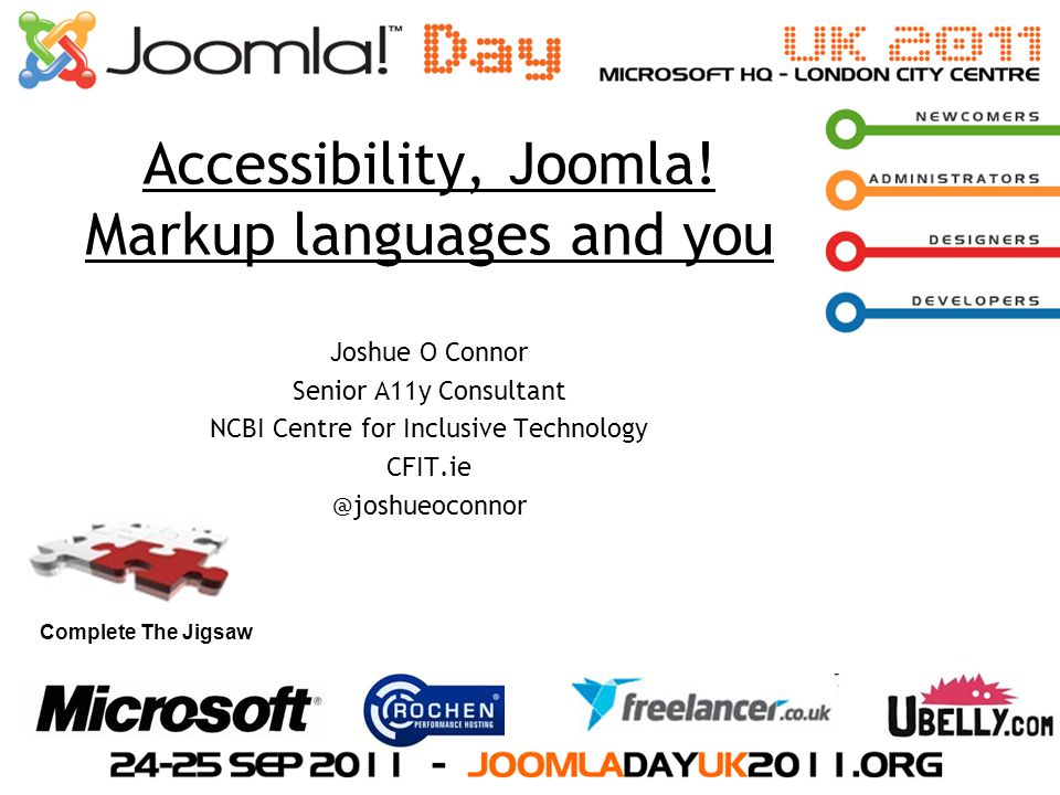 Accessibility, Joomla! Markup languages and you