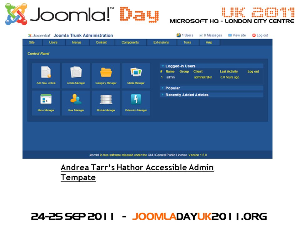 Andrea Tarr's Hathor Accessible Admin Tempate