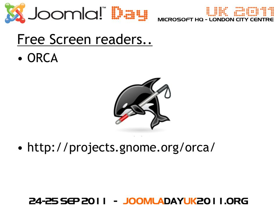 Free Screen readers.. ORCA http://projects.gnome.org/orca/