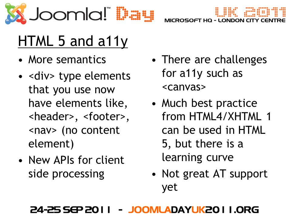 HTML 5 and a11y More semantics