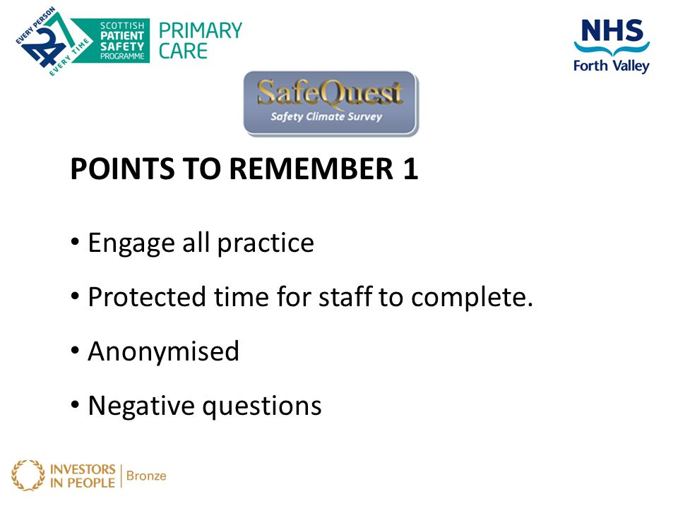 POINTS TO REMEMBER 1 Engage all practice