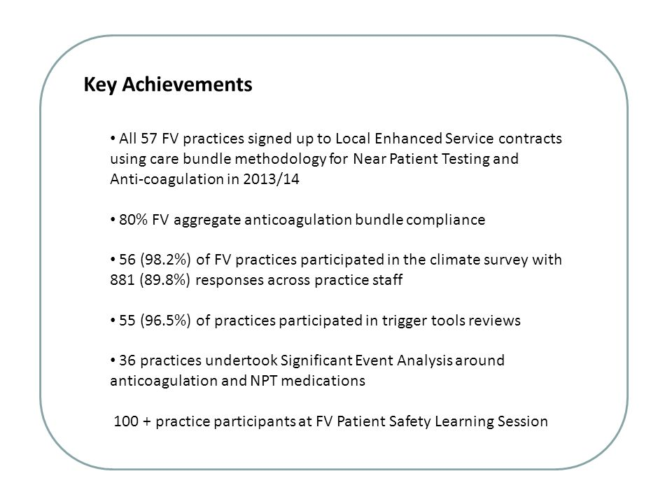 Key Achievements All 57 FV practices signed up to Local Enhanced Service contracts using care bundle methodology for Near Patient Testing and.