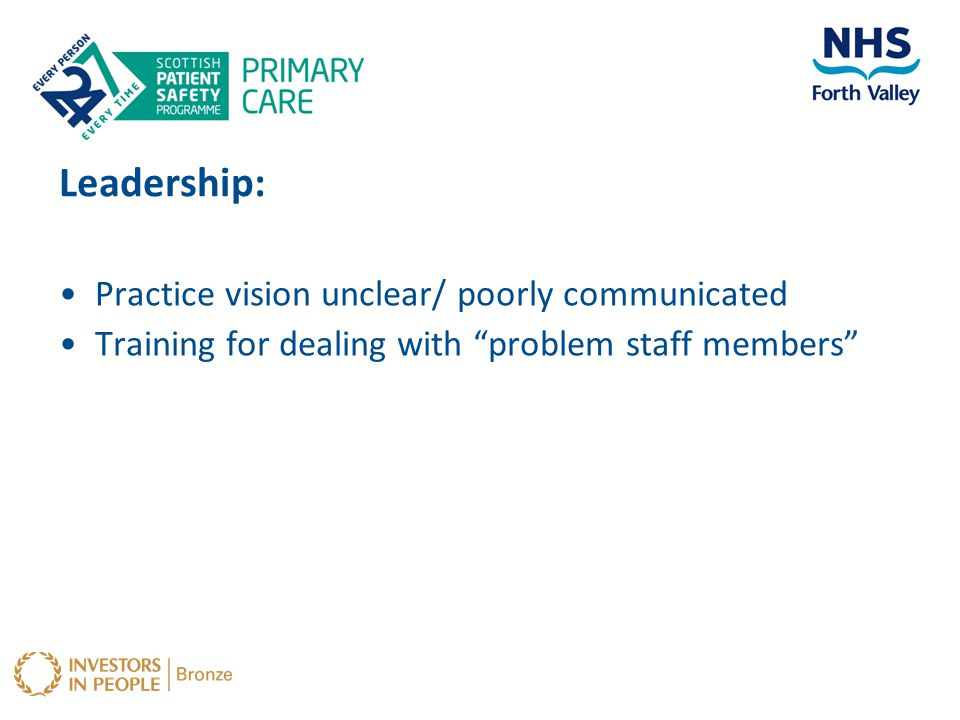 Leadership: Practice vision unclear/ poorly communicated