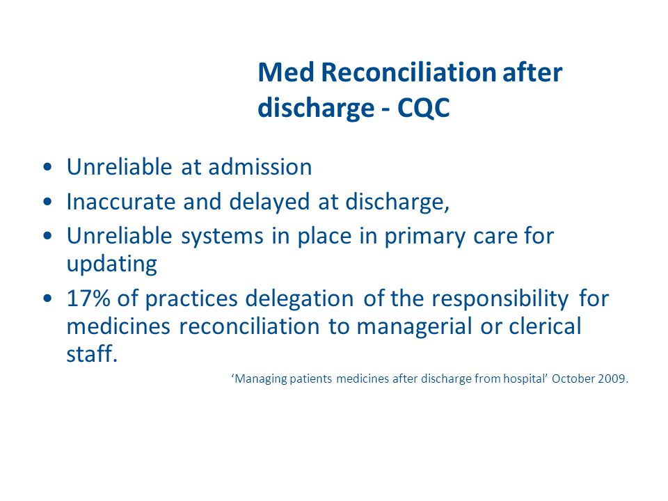 Med Reconciliation after discharge - CQC
