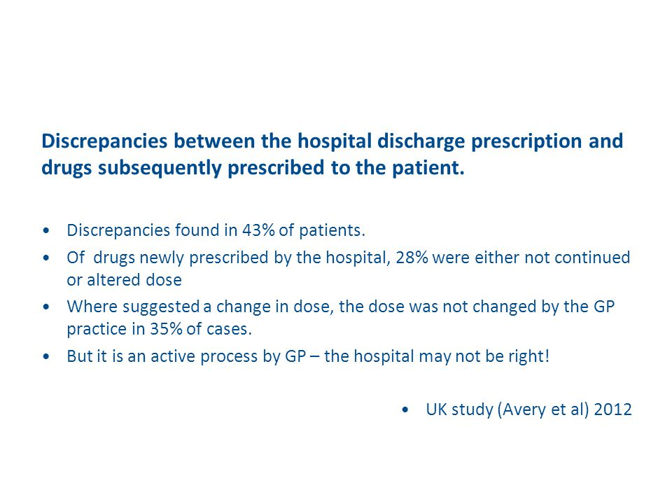 Discrepancies between the hospital discharge prescription and drugs subsequently prescribed to the patient.