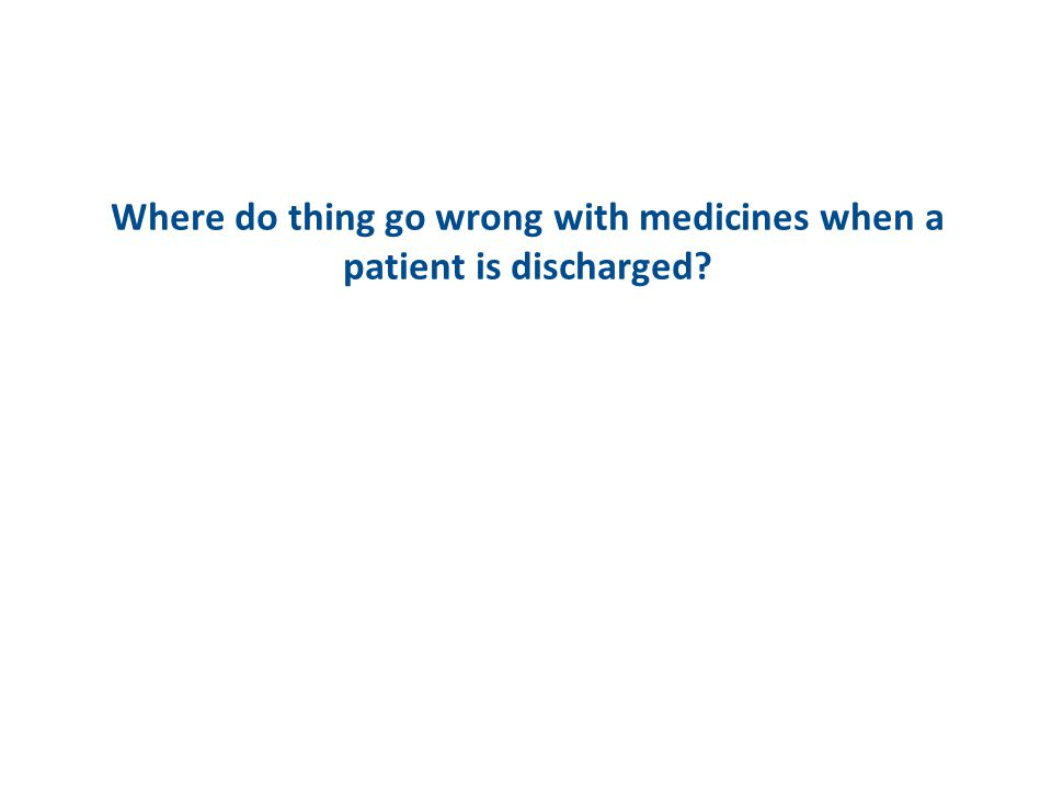 Where do thing go wrong with medicines when a patient is discharged
