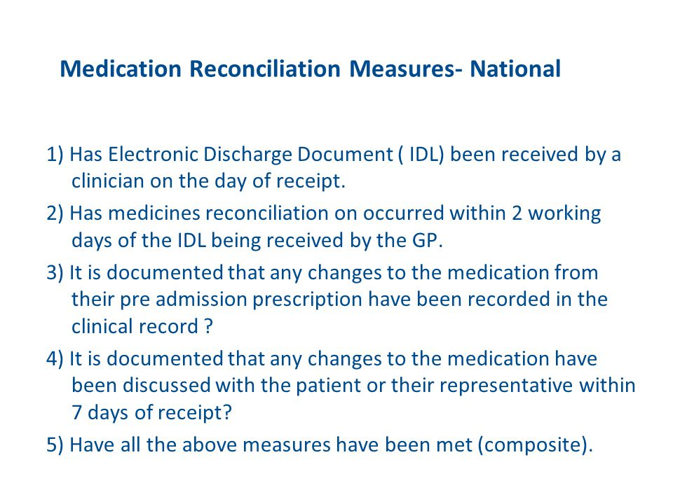 Medication Reconciliation Measures- National