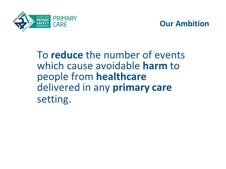 Our Ambition To reduce the number of events which cause avoidable harm to people from healthcare delivered in any primary care setting.
