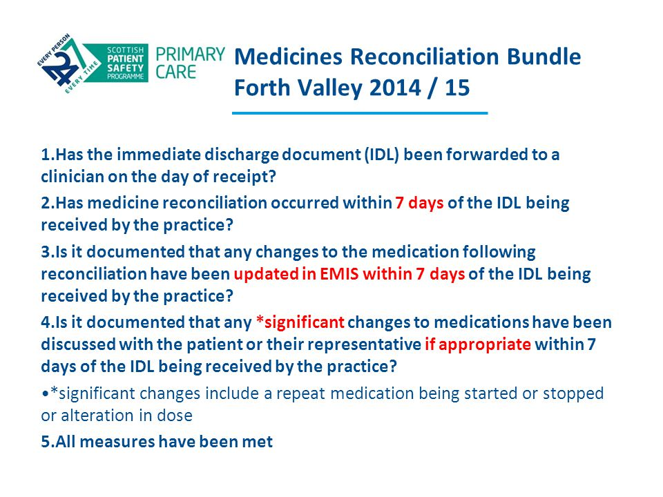 Medicines Reconciliation Bundle Forth Valley 2014 / 15