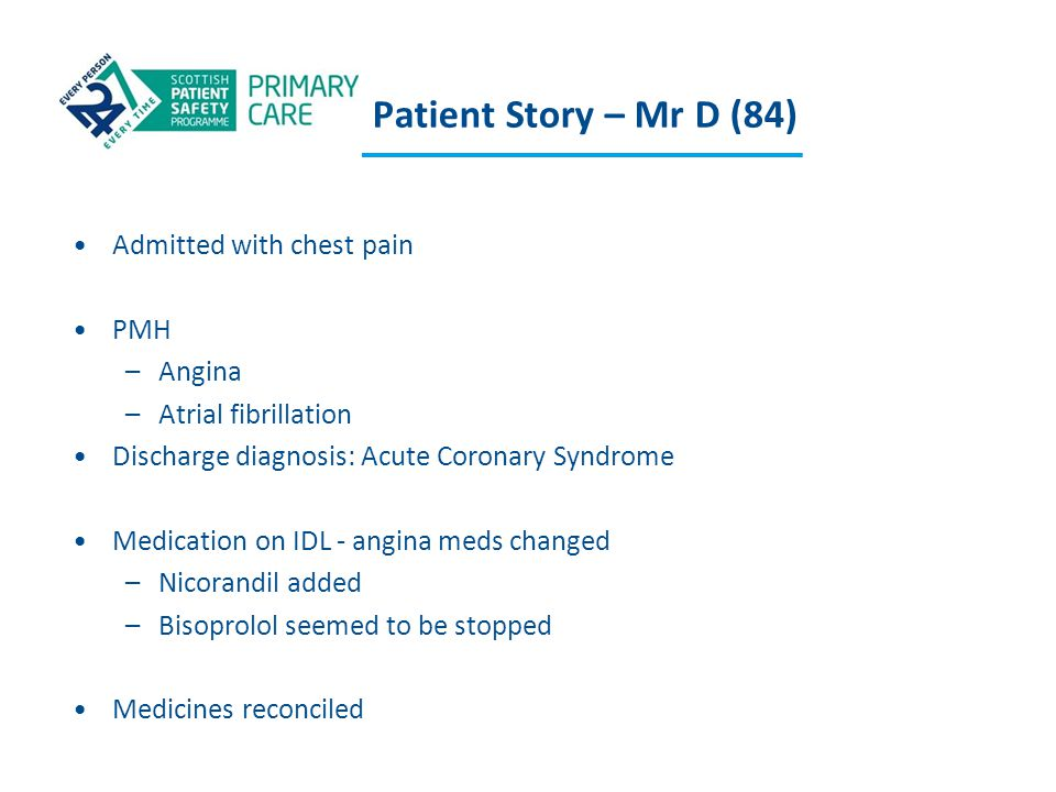 Patient Story – Mr D (84) Admitted with chest pain PMH Angina