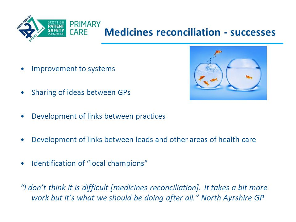 Medicines reconciliation - successes