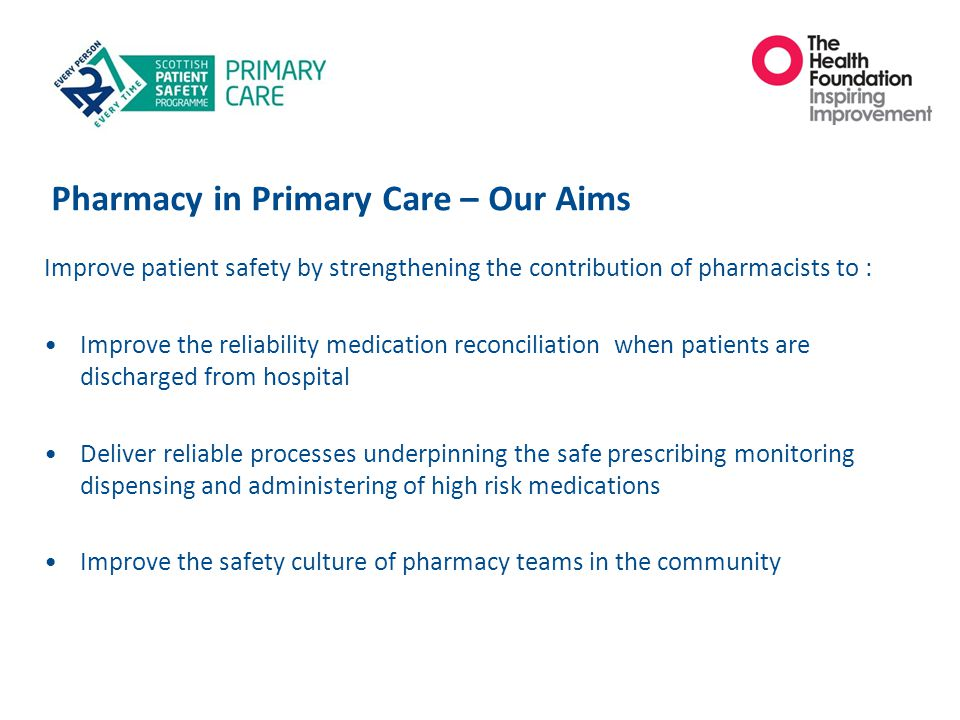 Pharmacy in Primary Care – Our Aims