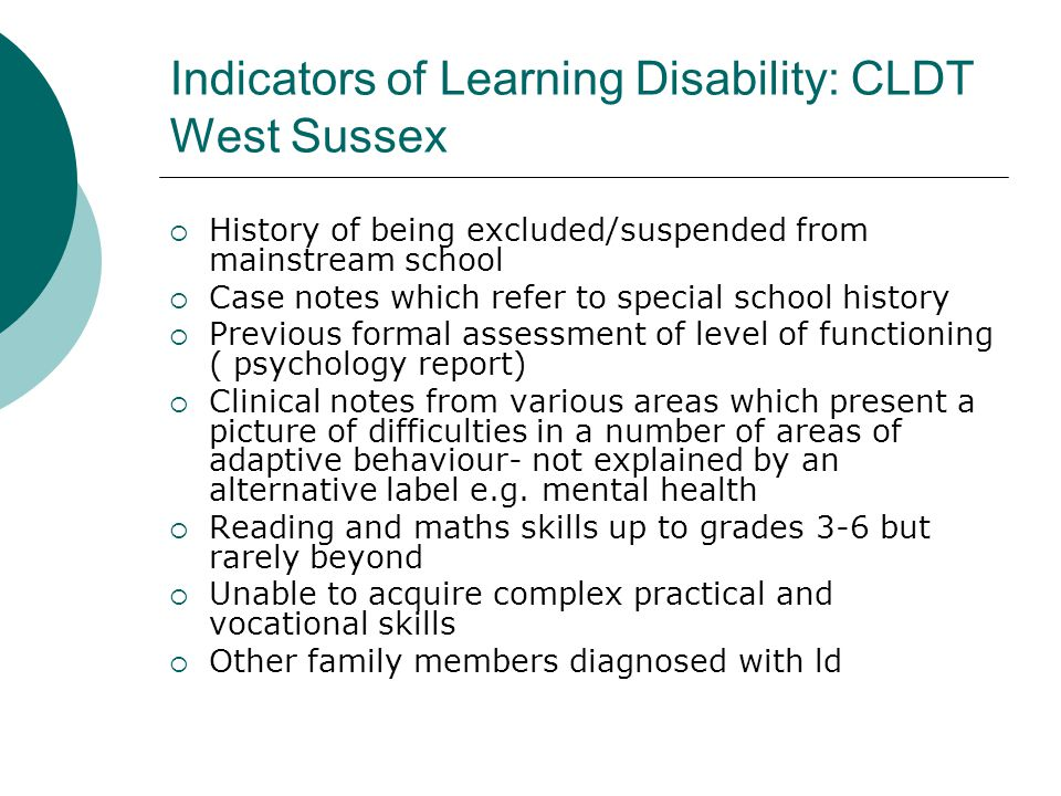 Indicators of Learning Disability: CLDT West Sussex