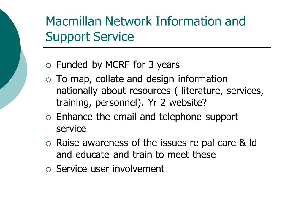 Macmillan Network Information and Support Service