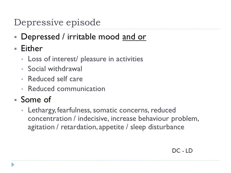 Depressive episode Depressed / irritable mood and or Either Some of