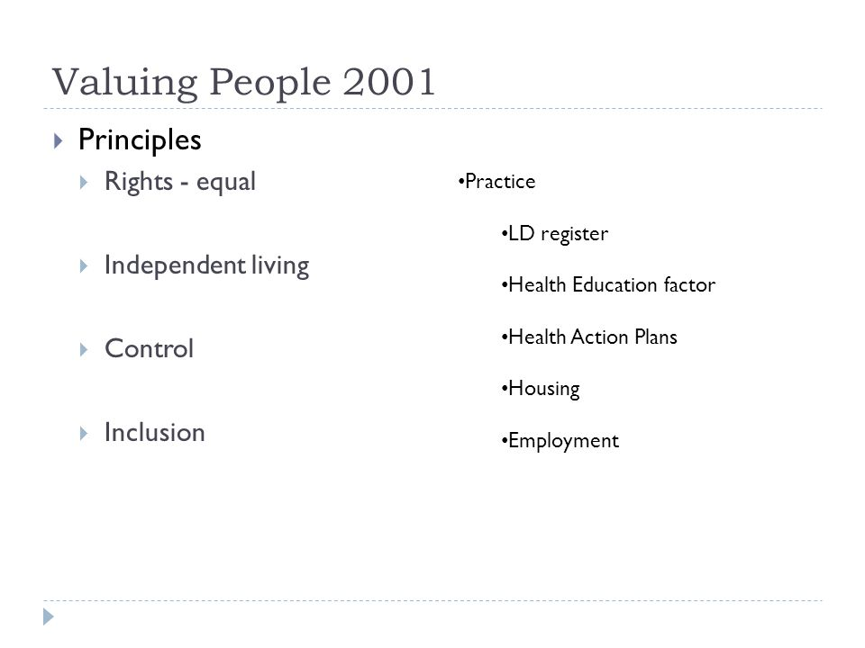 Valuing People 2001 Principles Rights - equal Independent living