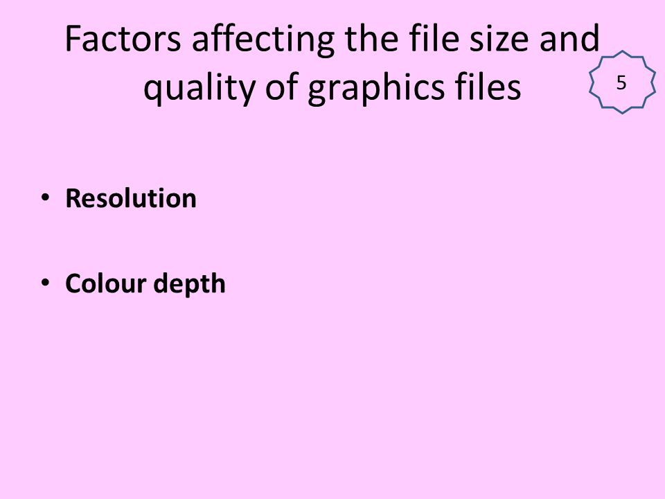 Factors affecting the file size and quality of graphics files