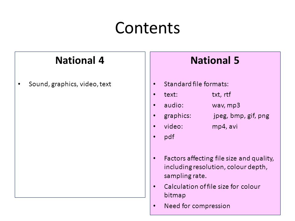 Contents National 4 National 5 Sound, graphics, video, text