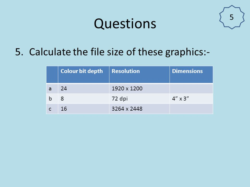 Questions Calculate the file size of these graphics:- 5