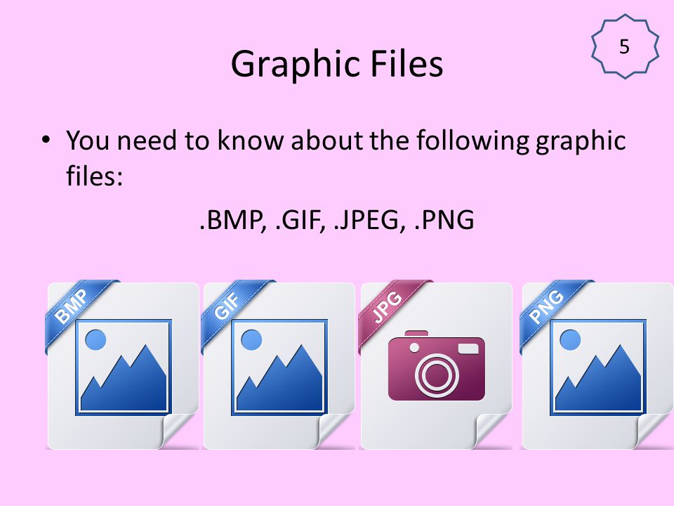 Graphic Files You need to know about the following graphic files: