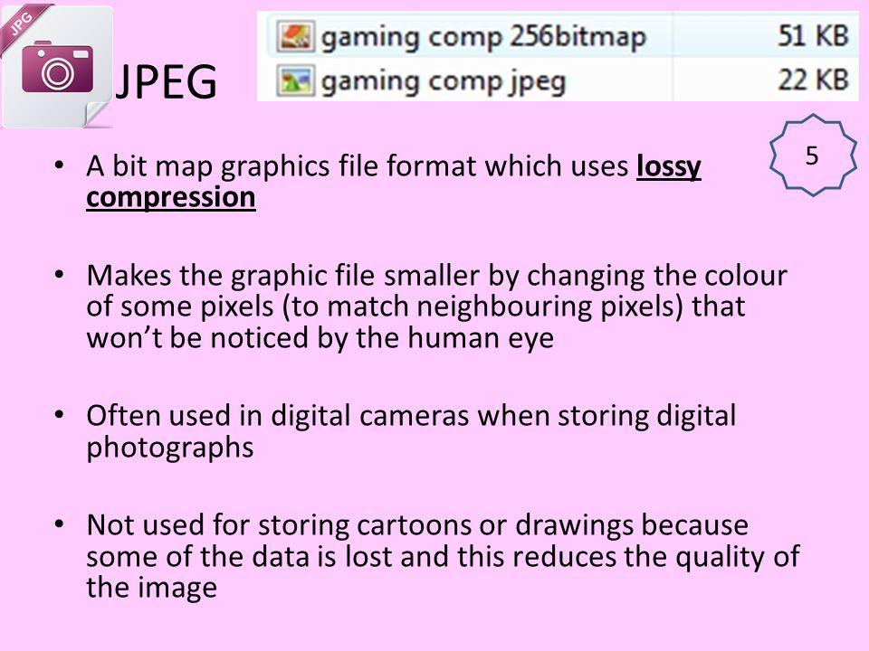 JPEG A bit map graphics file format which uses lossy compression