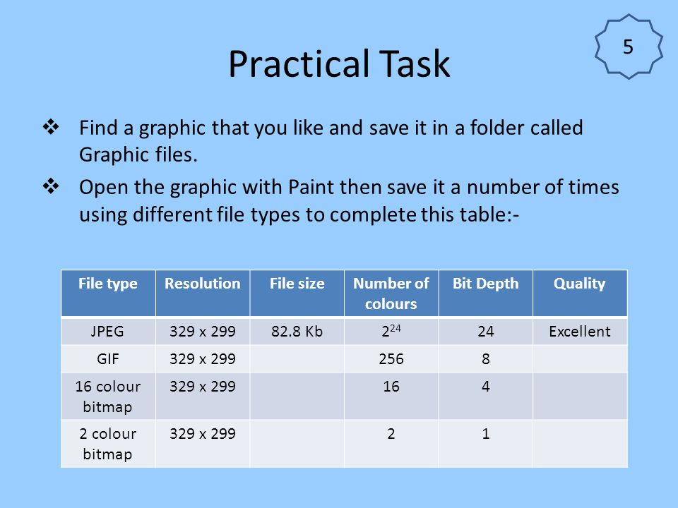 5 Practical Task. Find a graphic that you like and save it in a folder called Graphic files.