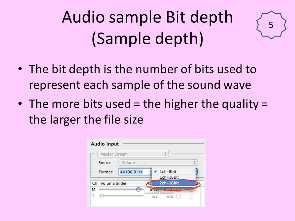 Audio sample Bit depth (Sample depth)