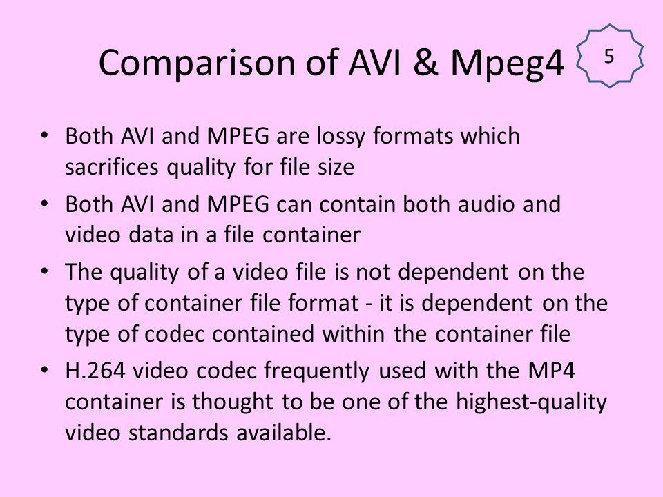 Comparison of AVI & Mpeg4