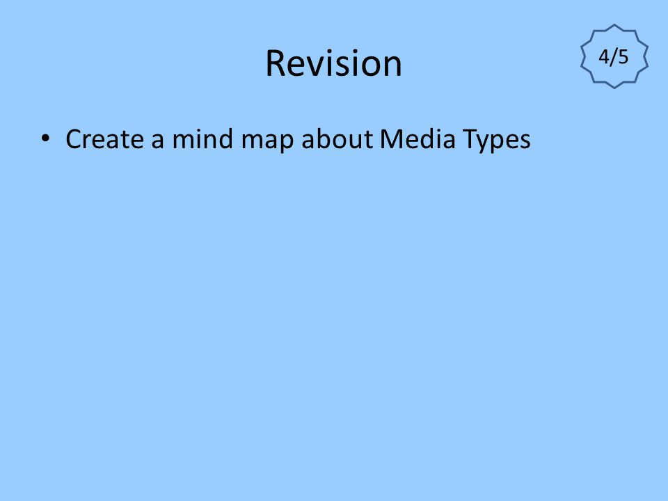 Revision 4/5 Create a mind map about Media Types