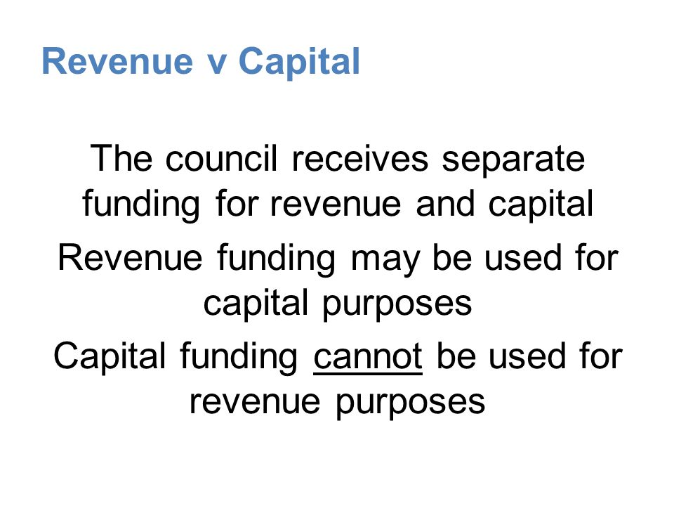 Revenue v Capital