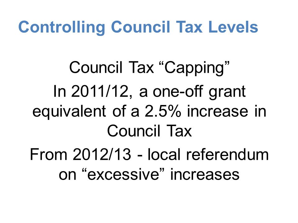 Controlling Council Tax Levels