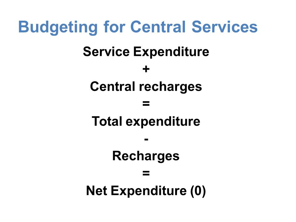 Budgeting for Central Services