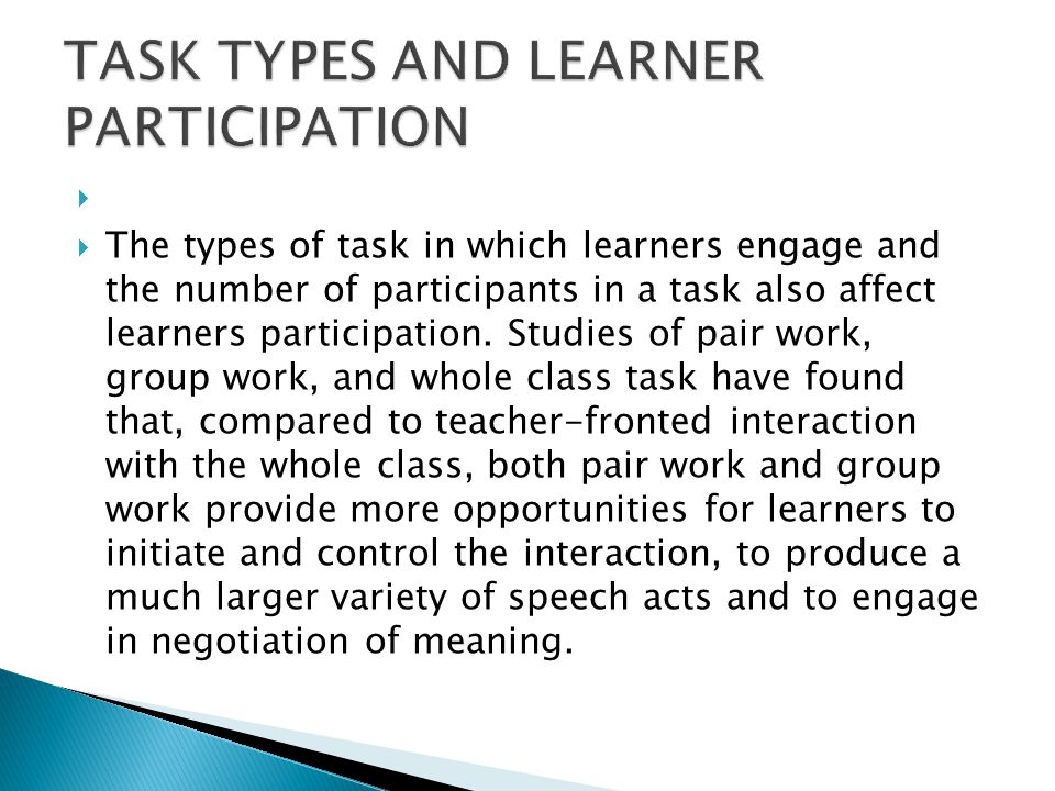 TASK TYPES AND LEARNER PARTICIPATION