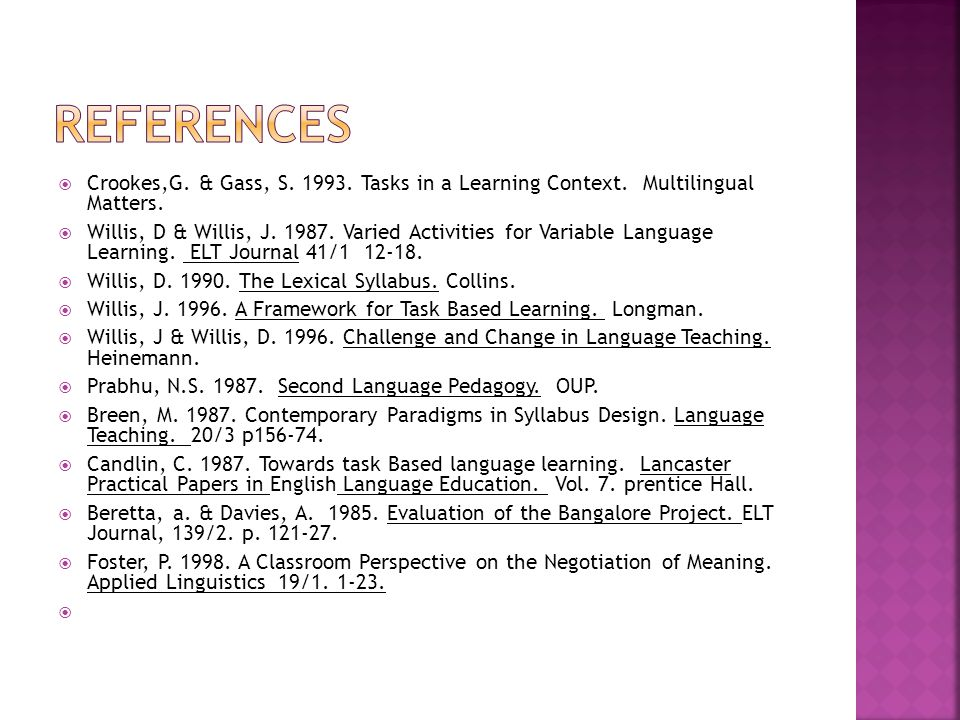 REFERENCES Crookes,G. & Gass, S. 1993. Tasks in a Learning Context. Multilingual Matters.
