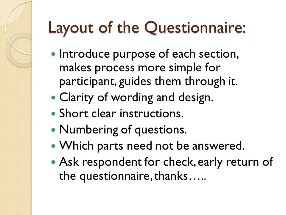 Layout of the Questionnaire: