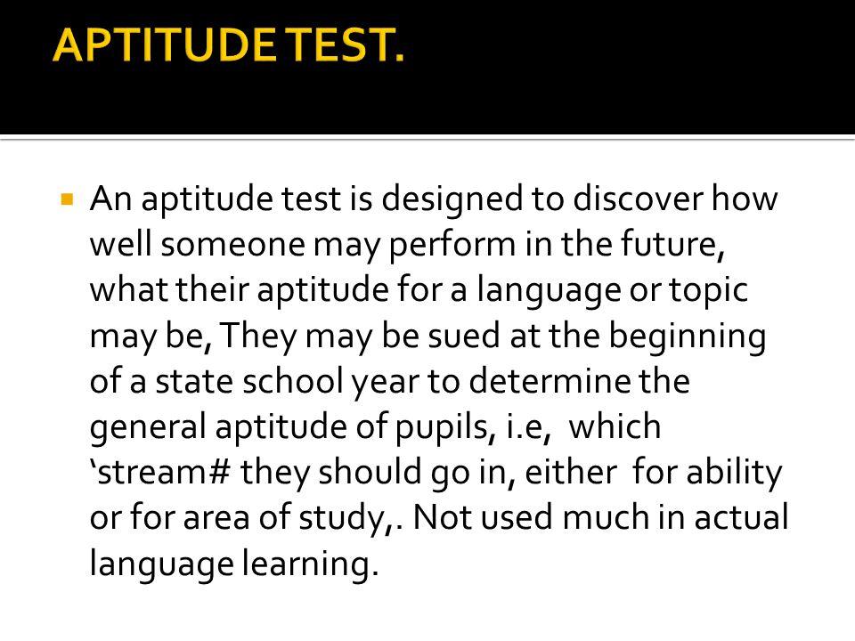 APTITUDE TEST.